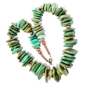 Green Hue Turquoise Copper & Sterling Necklace
